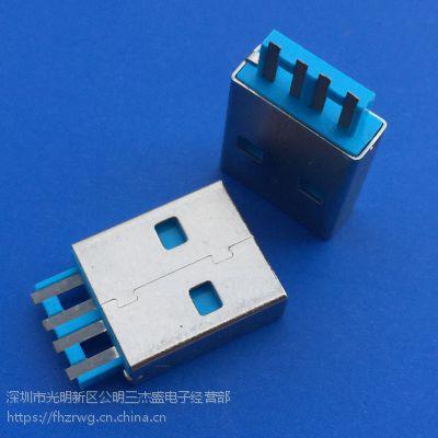 USB2.0 A母焊线式直边 正反插 180度直立式插板 蓝色胶芯 无卷边无后盖-创粤