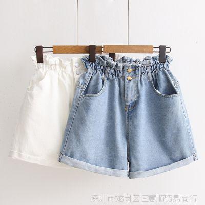 高腰阔腿牛仔短裤女学生夏款薄裤版学院风松紧腰百搭宽松翻边