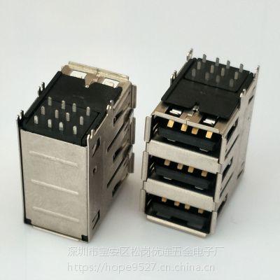 USB 2.0三层母座 12P/90度四脚插板DIP/鱼叉脚/铜壳/卷边/黑胶/多层AF 2.0