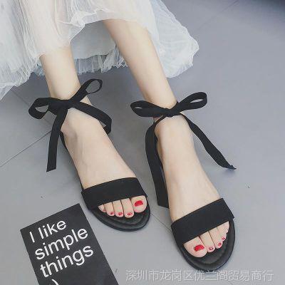 时装凉鞋纯色四季潮流搭配女士沙滩鞋大码港味配裙子的鞋子女鞋仙