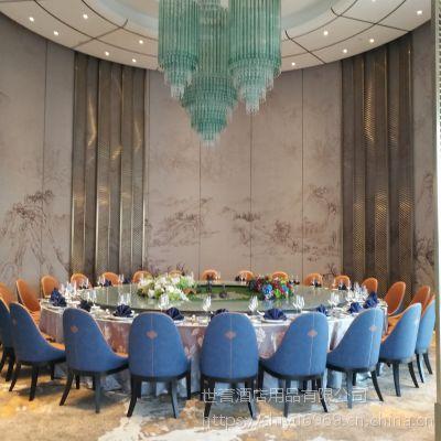 上海酒店宴会家具会所豪华包厢电动餐桌椅遥控电动转盘桌