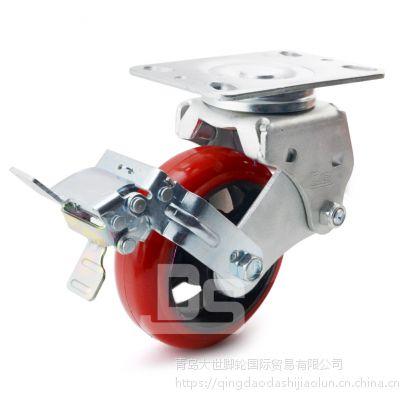 大世脚轮 万向刹车减震脚轮 双轴承5寸TPU弹簧轮 牵引车大门弹簧减震轮子