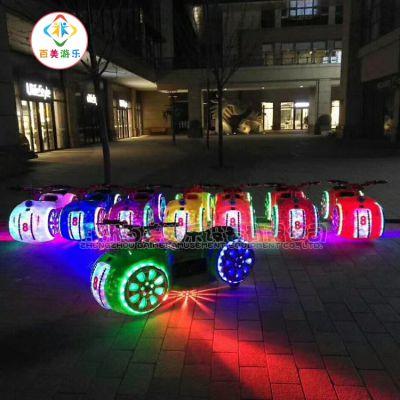 福建南平夜市上电动碰碰车,带彩灯音乐双人太子摩托车
