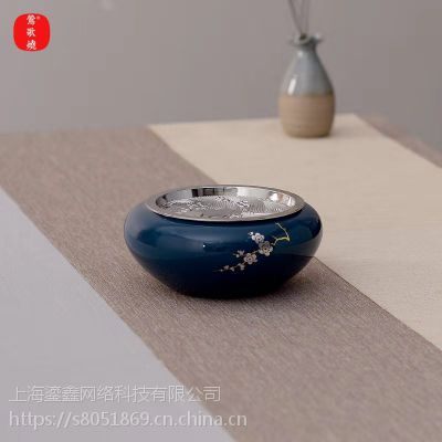莺歌烧 水石纹铜面霁蓝 壶承 茶壶 茶具配件 陶瓷 精品 420 茶道配件