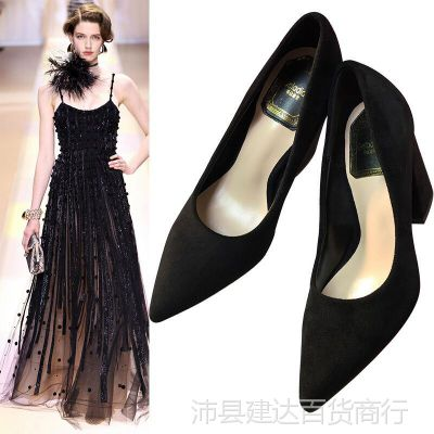 黑色大码浅口粗跟尖头单鞋百搭磨砂绒面高跟鞋职业中跟工作女鞋春
