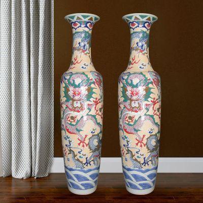 景德镇落地大花瓶摆件 厂家直销 陶瓷花瓶定做 酒店摆件