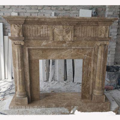 西班牙米黄欧式美式壁炉 石雕壁炉装饰柜室内摆件