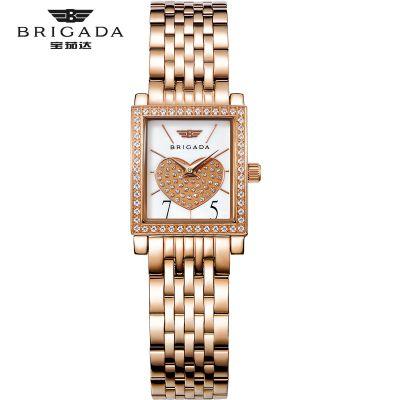 宝茄达简约方形玫瑰金色钢壳钢带学生腕表进口石英机芯女士手表