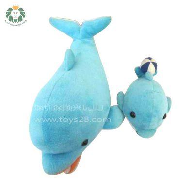 深顺兴-玩具厂-毛绒玩具制作-毛绒玩偶-水晶超柔母子鲸鱼公仔