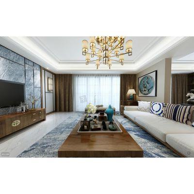 棕榈泉悦江国际装修,渝北高档洋房棕榈泉设计方案户型分享,天古装饰现代中式风格