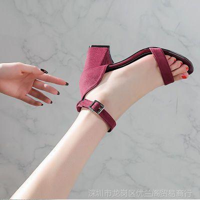 一字扣凉鞋女夏季仙女的鞋学生中跟小清新高跟鞋少女粗跟2018新款