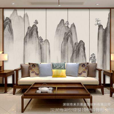 大型壁画客厅沙发墙电视墙纸卧室书房壁纸新中式山水背景墙画79