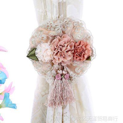 一对装欧式卡通窗帘扣窗帘绑带可爱创意窗帘夹窗帘捆绑扎花布