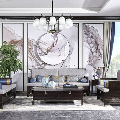豪森家具惠普品新中式沙发