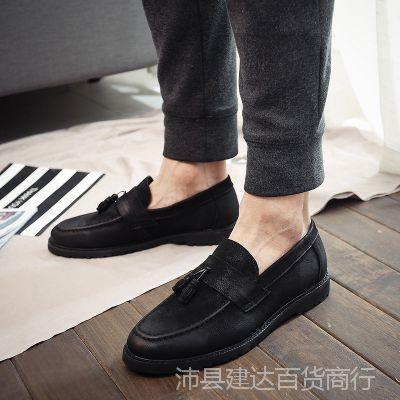夏季韩版打蜡真皮流苏男鞋一脚蹬懒人鞋豆豆鞋英伦风增高休闲鞋子