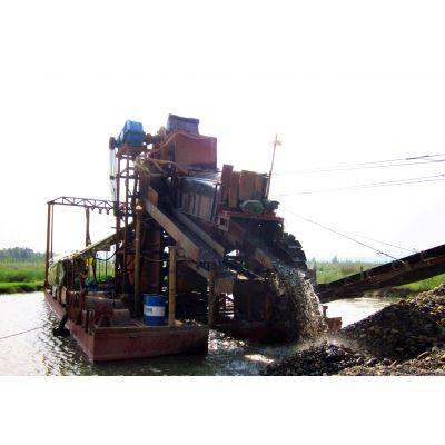 海外沙金采矿机械重型河道选金船即淘金船定制型dw淘金船