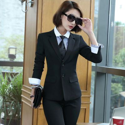 长袖黑色二粒扣职业装职业女裙套装定制 面试装女工作制服厂家直销