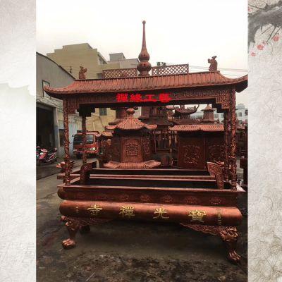 禅寺铸铁长方形四龙柱香炉 广西桂林大型铸铁香炉供应商