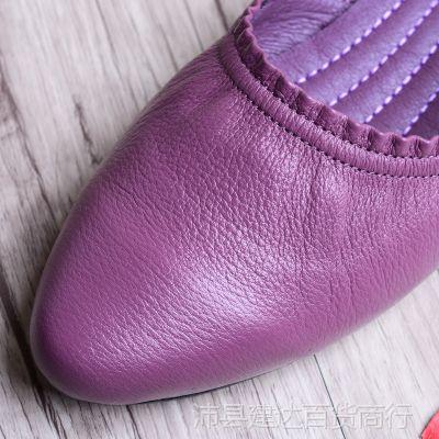 软牛皮单鞋女韩版休闲皮鞋尖头真皮平底2018春新款妈妈鞋舒适女鞋