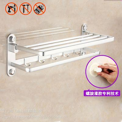 毛巾架太空铝螺旋灌胶免打孔浴巾架浴室置物架卫生间毛巾杆