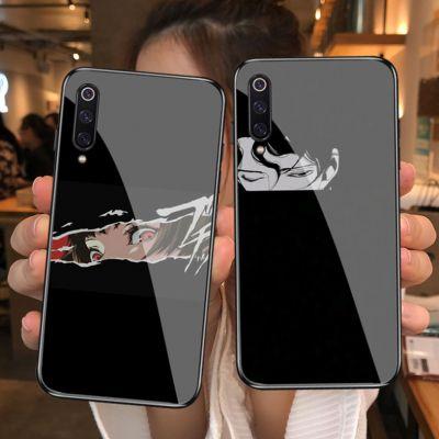 臻福友ins动漫暗黑系手机壳小米钢化玻璃镜面手机套