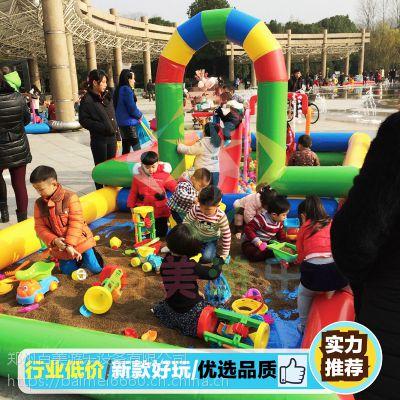 儿童沙滩玩具池,带拱门充气海洋球池组合既美观又好玩