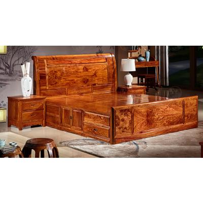 红木家具卧室实木1.8米大床三件套精致产品 名琢世家