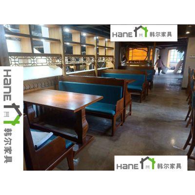 南京现代火锅实木桌 火锅桌椅订做 韩尔工厂直销