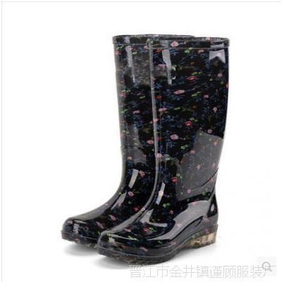 男女防滑耐磨黑色大人大码女童防水雨鞋亲子胶鞋四季中老年通用小