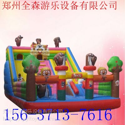 赶庙会用的儿童充气城堡滑滑梯大型游乐设备可订制
