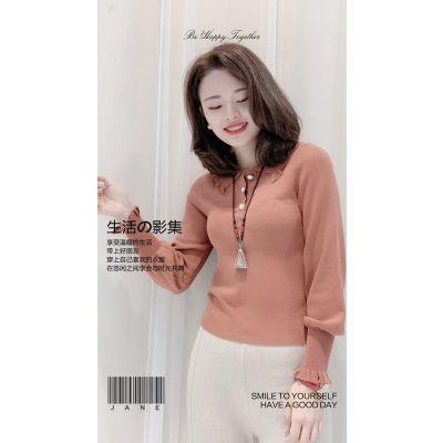 安格贝短款紧身显瘦毛衣秋季品牌女装折扣