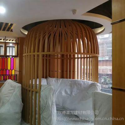 仿古餐厅装饰铝方通组合格栅 木纹铝花格上门定制