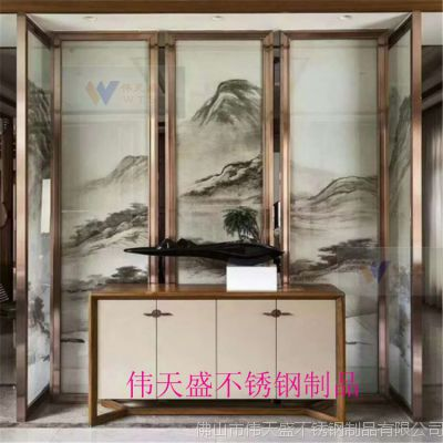 江苏酒店装饰艺术不锈钢屏风隔断古典中式不锈钢屏风花格伟天盛高端定制厂家