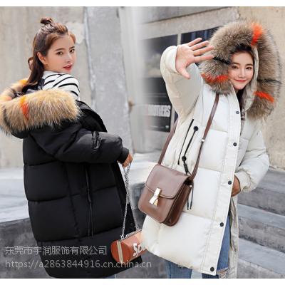 2018年底清货尾货棉衣羽绒服清货处理中长款棉服清货冬季加厚外套