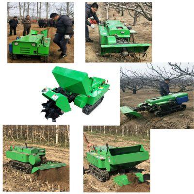 桃园开沟施肥机 电启动履带开沟机 遥控式旋耕除草机