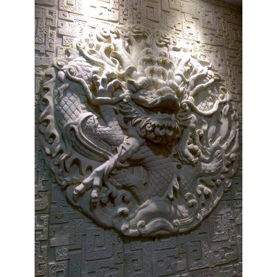 立体沙岩电视背景墙砂岩浮雕麒麟玄关隔断板双面龙形屏风砂岩浮雕