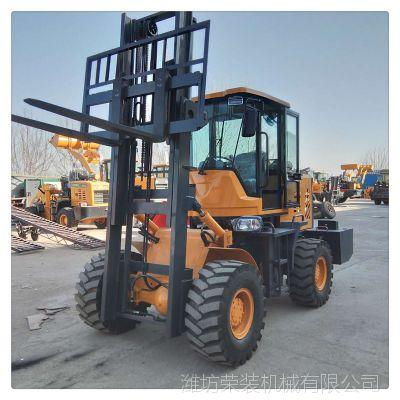 四驱越野叉车卸载3.5米载重3吨机动性高荣装机械制造