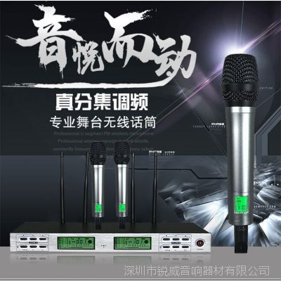 广播级舞台演出无线话筒一拖二真分集话筒超远距离接收批发直销