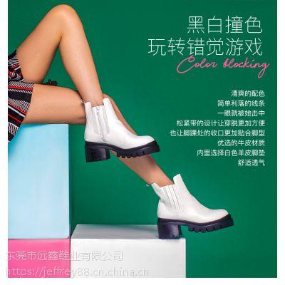 Jeffrey Campbell2018秋冬新品白色简约拉链圆头舒适低跟短靴女鞋