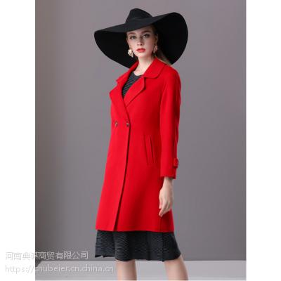 楚贝尔秋冬毛呢外套女中长款修身流行双面呢子气质红色羊毛大衣
