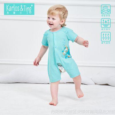 婴儿夏季衣服夏装男女宝宝开档短袖纯棉连体衣爬爬服哈衣
