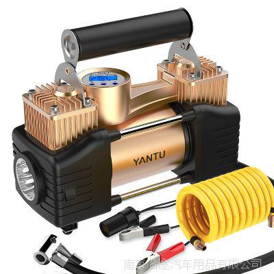 沿途新款车载充气泵便携式双缸汽车打气泵智能数显轮胎电动充气泵
