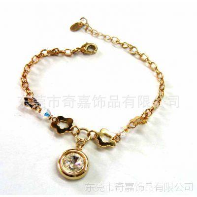 厂家供应 复古韩国链镶奥登水钻宝石手链 新款时尚金属手环