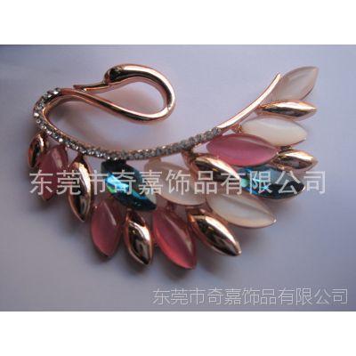 孔雀开屏镶宝石胸针 金属锌合金甩模胸花 新款时尚精美饰品