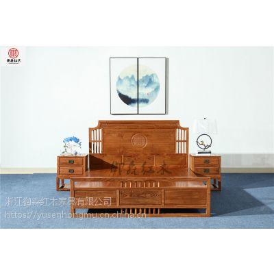 红木低箱床3件套-花梨木家具-红木家具-