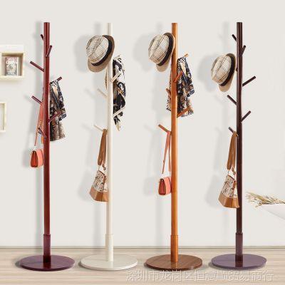 简易挂时尚落地实木衣帽架卧室挂时尚衣架创意简约衣服架木衣架子
