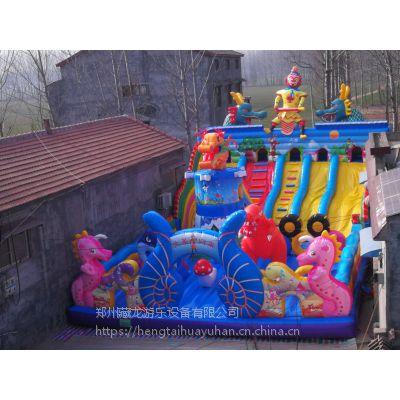 小型气垫床60平米价格 小猪佩奇充气滑梯蹦蹦床 标准的充气城堡是多大的啊