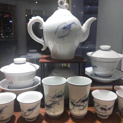 家用整套青花陶瓷茶具定制logo 大号茶杯茶壶套装