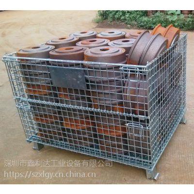 厂家直销折叠式仓储笼 金属周转箱移动可带轮订做铁框笼 蝴蝶笼 鑫利达