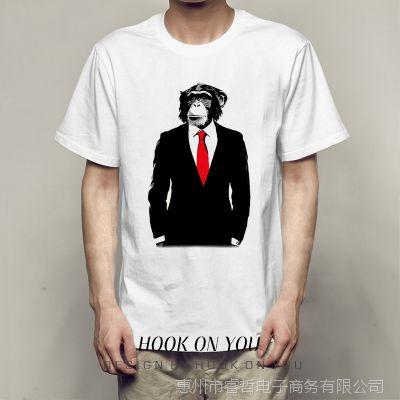 穿西服的猩猩系列印花创意百搭休闲街头欧美风Tee休闲hiphop男士T